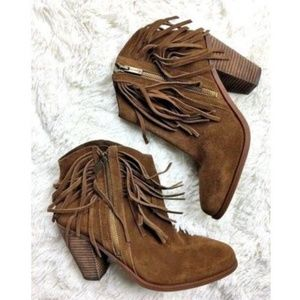 Jessica Simpson Boots 10 Suede Brown Leather Fring